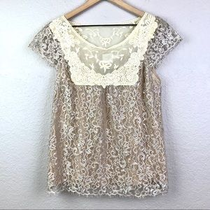 Anthro HD Paris Tan Silver Metallic Lace Top